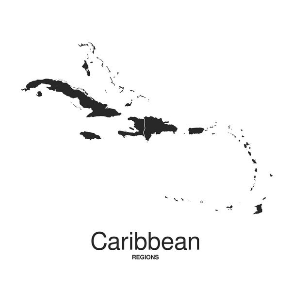 A Map of the Caribbean, A region where the Orangetail Damselfish is found.